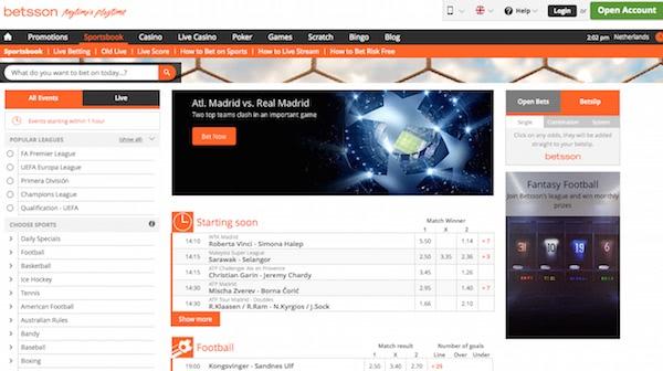 Dit is de homepage van bookmaker Betsson waar je kunt laten uitbetalen