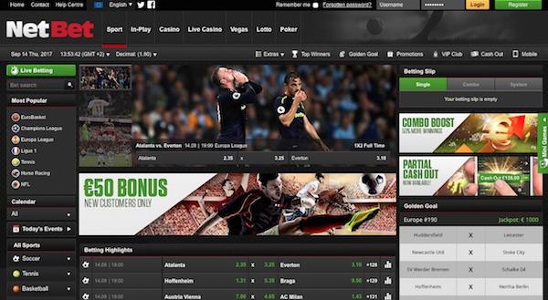 De hoofdpagina voor sportweddenschappen bij bookmaker NetBet