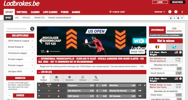De homepage van bookmaker Ladbrokes waar je kunt wedden