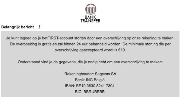 Bankoverschrijving BetFIRST
