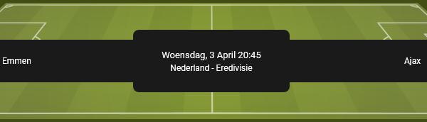 Emmen speelt tegen Ajax met de beste quoteringen bij BetFIRST online