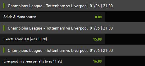 Super Odds Tottenham tegen Liverpool Champions League finale bij Bet777