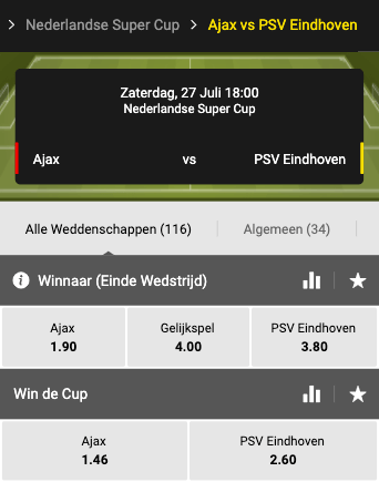 Odds Ajax PSV in de Nederlandse supercup 2019