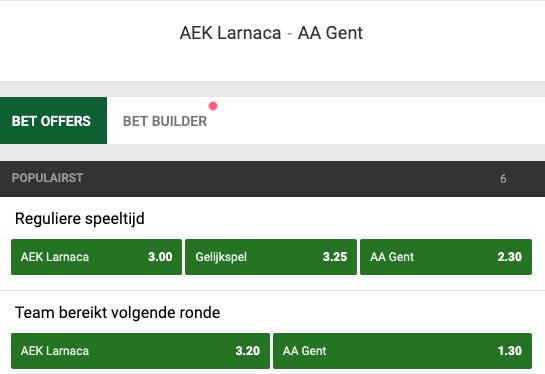 Gokken op Larnaca - Gent odds in de Europa League
