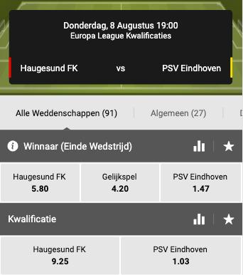 Odds van Haugesund tegen PSV in Europa League Kwalificatierondes