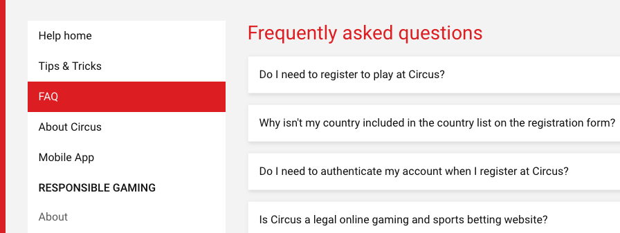 Bij Circus heb je een uitgebreide FAQ beschikbaar