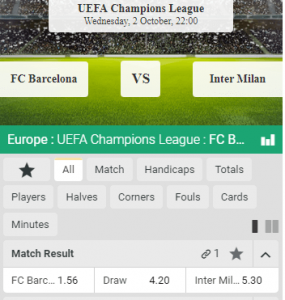 barcelona inter milan odds CL groep F