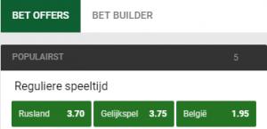 gokken op RUsland Belgie met de beste odds