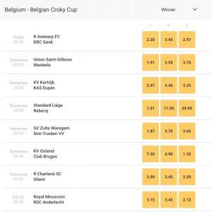 odds belgian croky cup