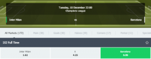 Odds Inter Barca