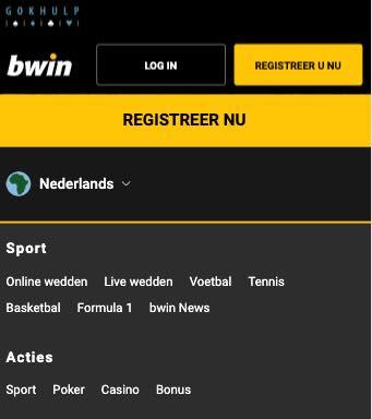 Bwin Mobiele site menu overzicht