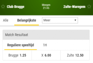 odds in de beker van belgie, club brugge zulte waregem