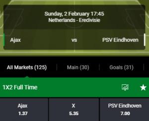 De Bet90 odds bij Ajax PSV