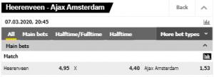 Odds bij Heerenveen Ajax