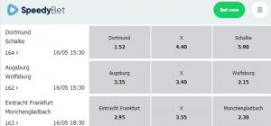 Bundesliga odds dit weekend Speedybet