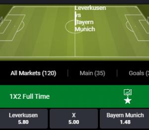 bet90 odds bij bayer Leverkusen tegen bayern Munchen
