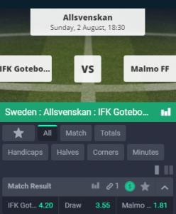 goede odds bij Goteborg - Malmo