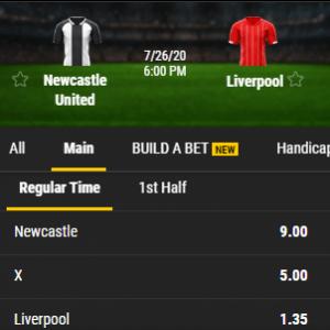 de odds bij Newcastle United tegen Liverpool