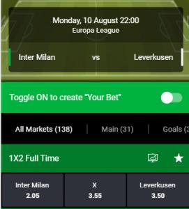 goede odds bij Inter tegen Bayer Leverkusen