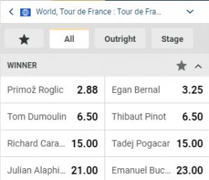 Wedden op de kanshebbers van de Tour de France