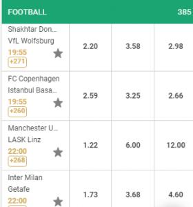 De beste odds bij de Europa League