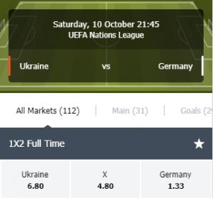 Wed nu op Oekraine tegen Duitsland in de Nations League