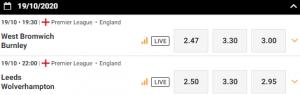 de odds bij WBA -Burnley en Leeds Wolverhampton