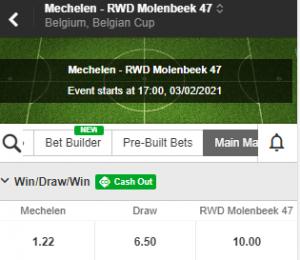betay odds bij Mechelen RWDM