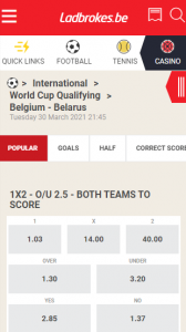 Belgie - Belarus odds 30-03-2021