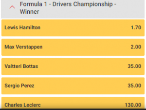 algemeen kampioenschap formule 1 wedden 2021