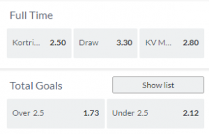 de beste odds bij kortrijk tegen Mechelen 27-08-2021