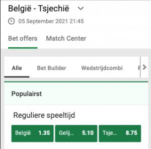 Wedden op Belgie - Tsjechie 05-09-2021 odds